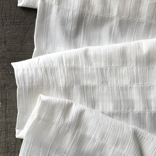 White Smocked Woven Cotton - The Village Haberdashery
