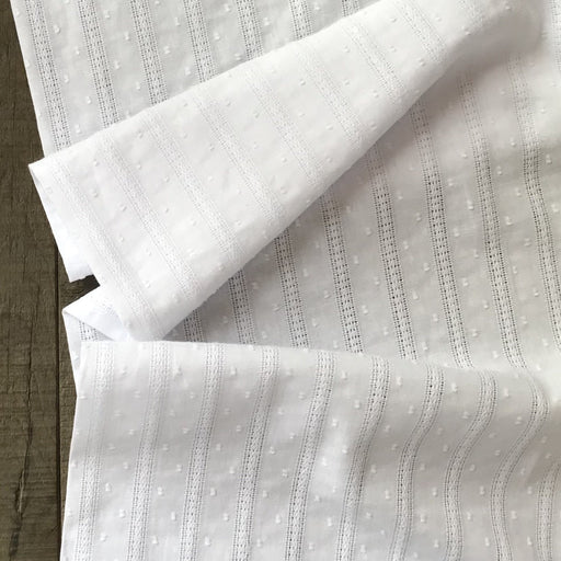 Dots and Stripes Embroidered Cotton - The Village Haberdashery