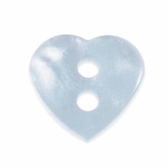 Heart Buttons - Light Blue - 11mm - The Village Haberdashery