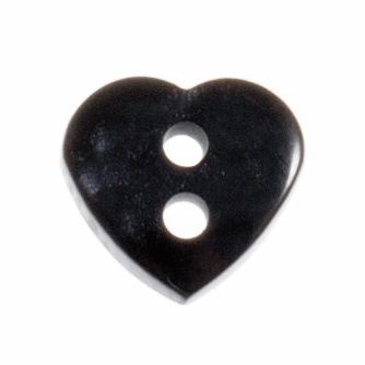 Heart Buttons - Black - 11mm - The Village Haberdashery