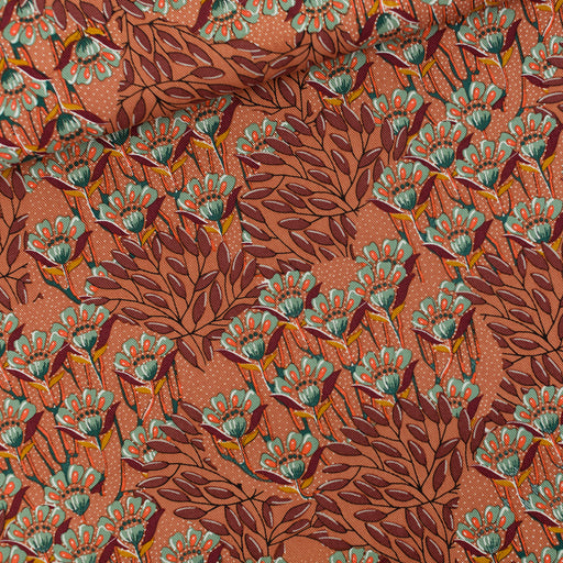 Sunburn Brown Gilly Flowers Cotton Gabardine Twill by See You at Six - The Village Haberdashery