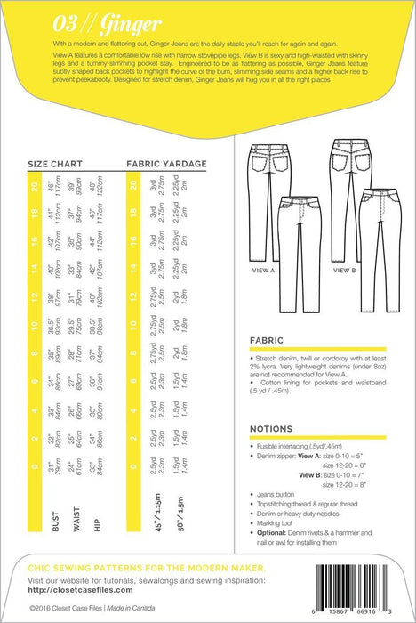 Closet Core Patterns - Ginger Jeans - The Village Haberdashery