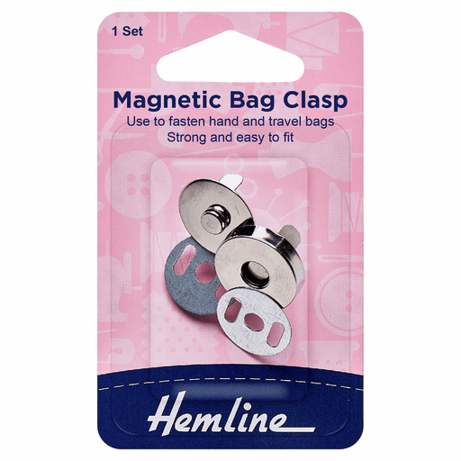 Silver Magnetic Bag Closure - 18mm - The Village Haberdashery