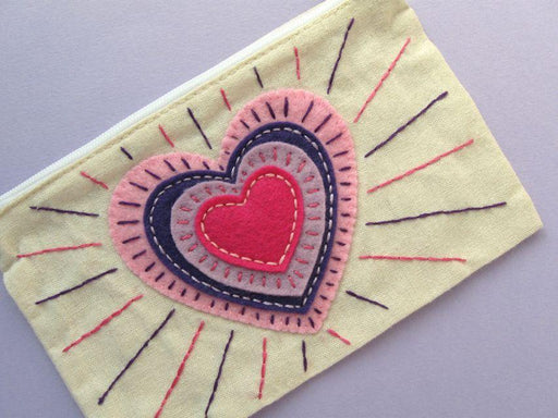 Heart Applique Zip Pouch - The Village Haberdashery