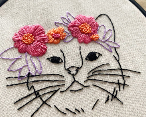 Aloha Kitty Embroidery Kit by Stitch with Skye - The Village Haberdashery