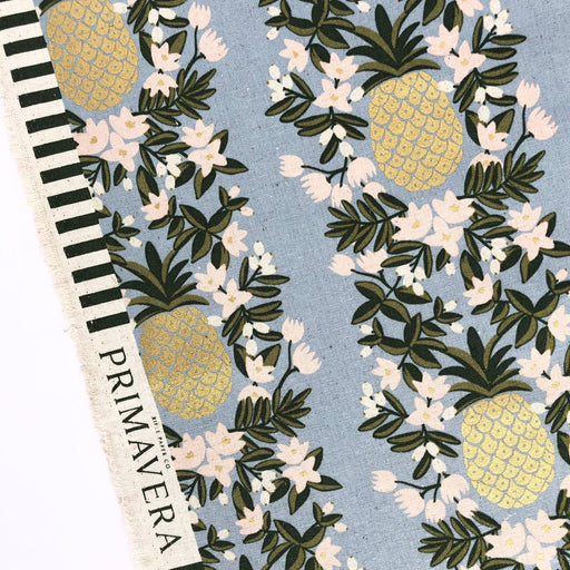 Periwinkle Metallic Pineapple Stripe Canvas from Primavera by Rifle Paper Co for Cotton + Steel - The Village Haberdashery