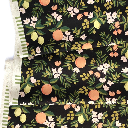 Black Citrus Floral Linen Canvas from Primavera by Rifle Paper Co for Cotton + Steel - The Village Haberdashery