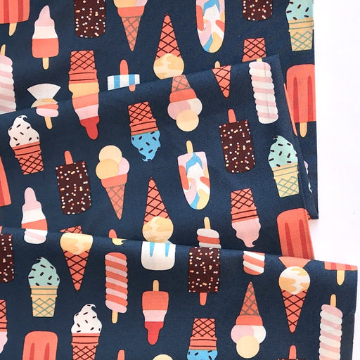 Navy Multi Ice Creams Cotton from Simple Pleasures by Naomi Wilkinson - The Village Haberdashery