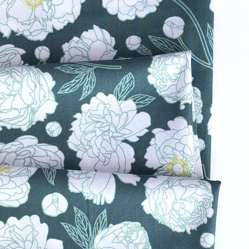 Teal Multi Peony Cotton from Primavera by Pippa Shaw - The Village Haberdashery