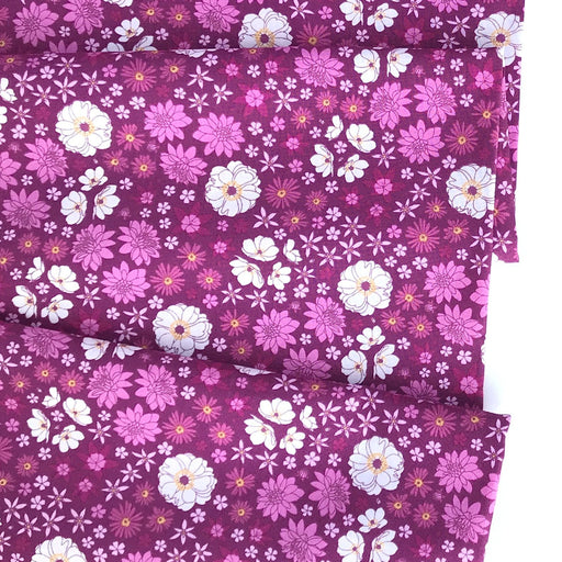 Magenta Multi Scattered Floral Cotton from Primavera by Pippa Shaw - The Village Haberdashery