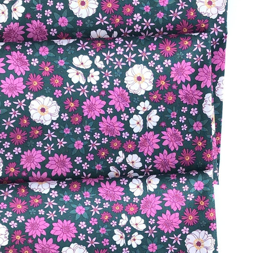 Green Multi Scattered Floral Cotton from Primavera by Pippa Shaw - The Village Haberdashery