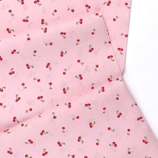 Tiny Pink Cherry Cotton Poplin