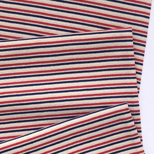 Red & Navy Glitter Stripe Cotton Ribbing Tube - The Village Haberdashery