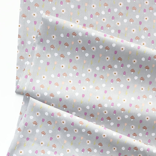 Pale Grey Sparkle Toadstools Cotton Poplin - The Village Haberdashery