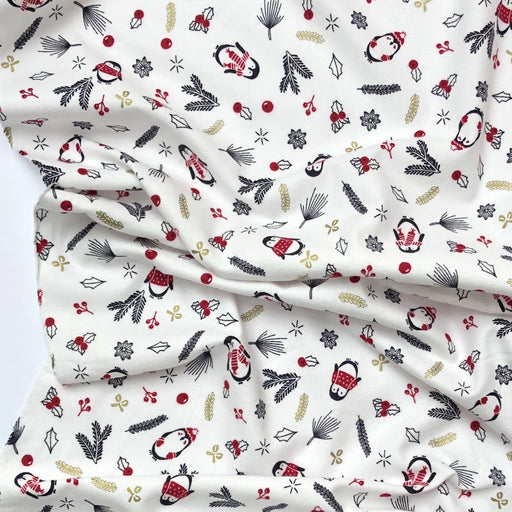 Christmas Penguin Brushed Cotton Flannel - The Village Haberdashery
