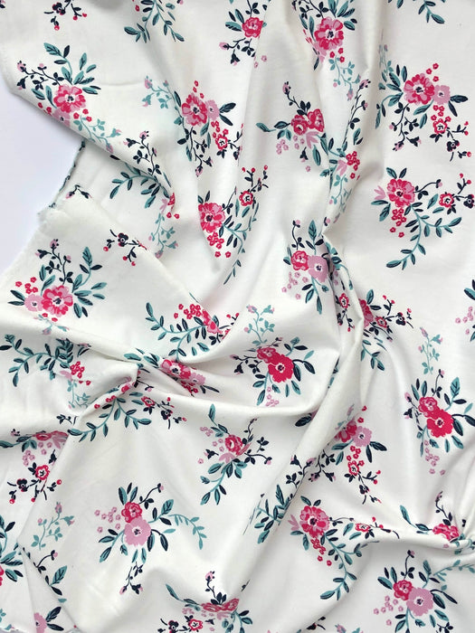 Pink Blooms Brushed Cotton Flannel - The Village Haberdashery