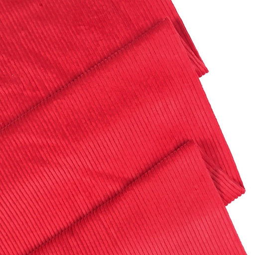 Postbox Red 4.5 Wale Washed Cotton Corduroy - The Village Haberdashery