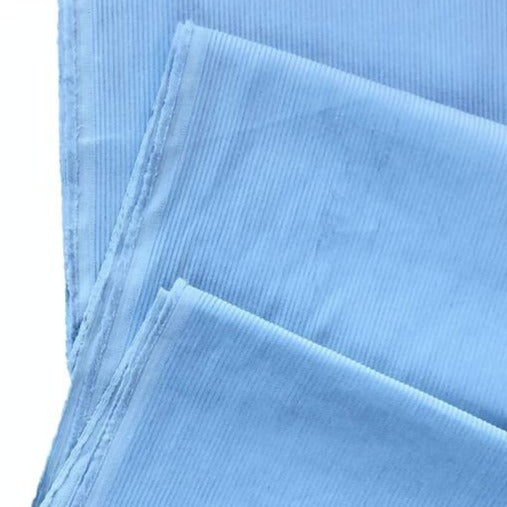 Sky Blue 9 Wale Washed Cotton Corduroy - The Village Haberdashery