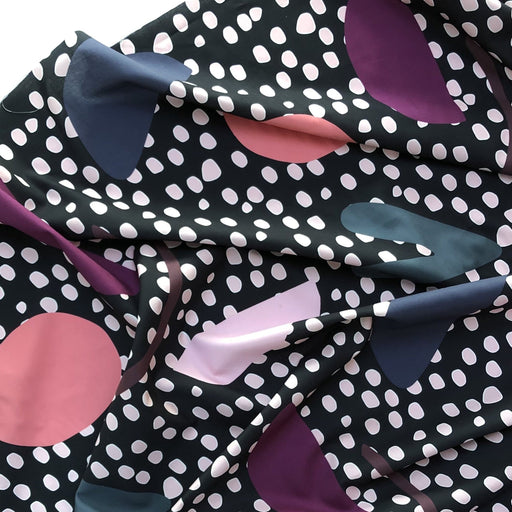 Black Jigger Jagger Spots + Shapes Mid-Weight Cotton by Nerida Hansen - The Village Haberdashery