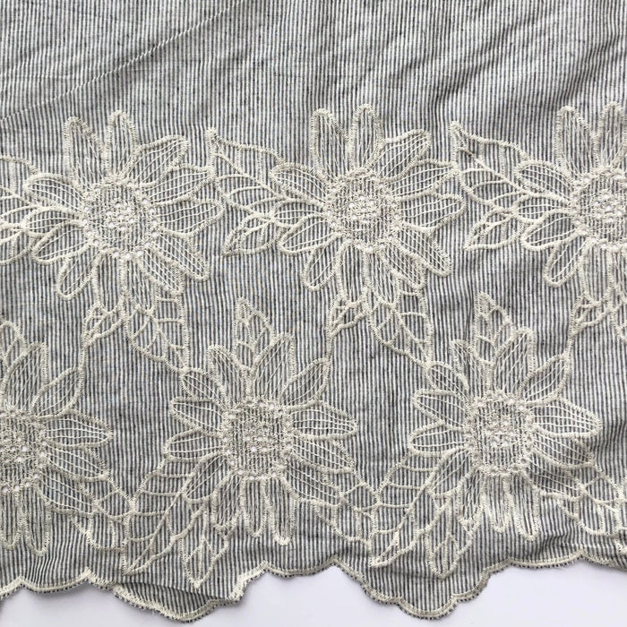 Embroidered Cotton - Floral Border on Charcoal - The Village Haberdashery