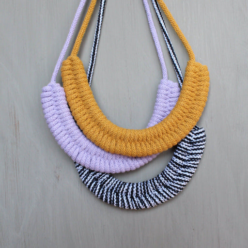 Woven Necklace Kit: Lilac, Mustard & Monochrome - The Village Haberdashery