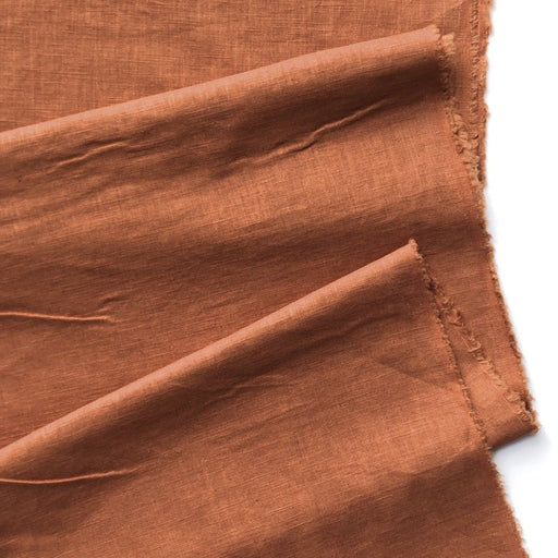 Enzyme Washed Linen - Rust- 25cm Remnant (Flawed) - The Village Haberdashery