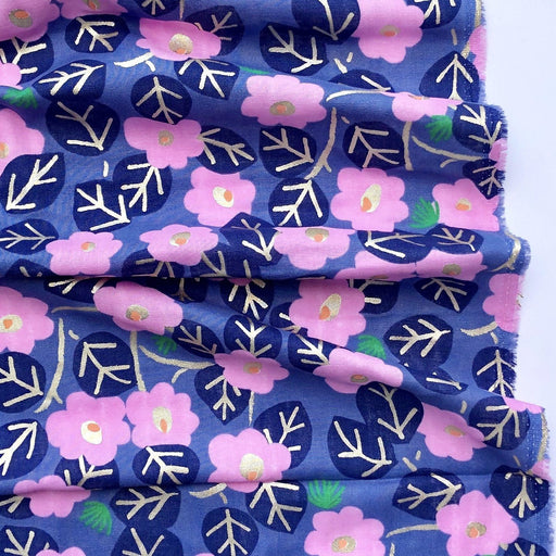 Aloha Blue Flowers Double Gauze - The Village Haberdashery