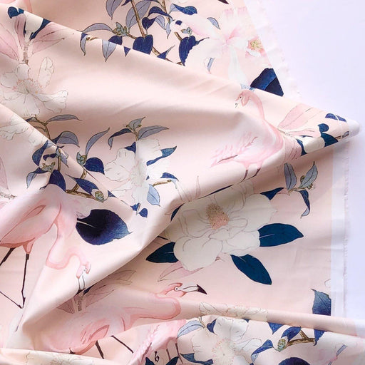 Botanical Flamenco in Sugar Pink Cotton Lawn - The Village Haberdashery