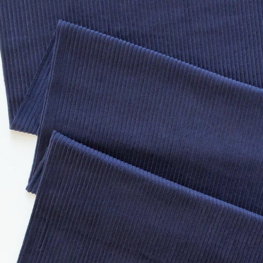 Navy 4.5 Wale Washed Cotton Corduroy - The Village Haberdashery