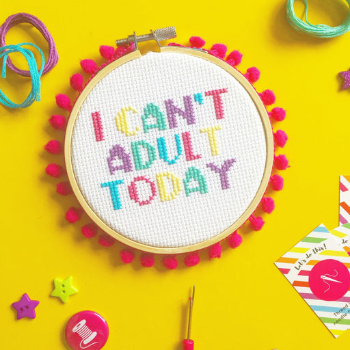 The Make Arcade Cross Stitch Kit - I Can't Adult Today - The Village Haberdashery