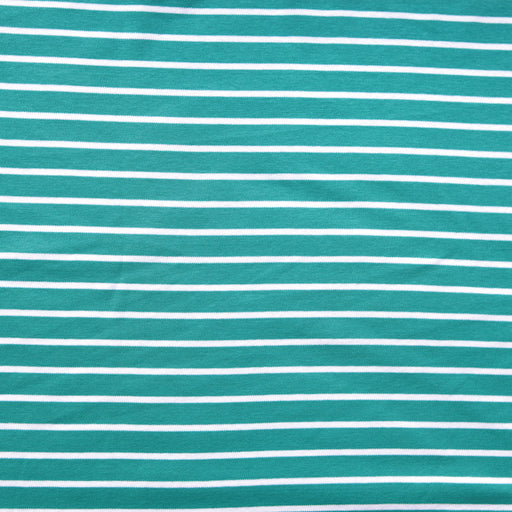 Sea Green & White Stripe Organic Cotton Interlock Knit - The Village Haberdashery