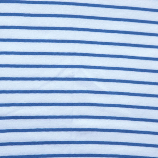 Marina & White Stripe Organic Cotton Interlock Knit - The Village Haberdashery