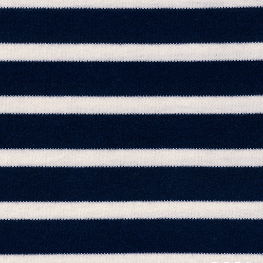 Navy & Natural Stripe Organic Cotton Interlock Knit - The Village Haberdashery