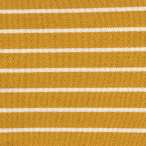 Mustard & Natural Stripe Organic Cotton Interlock Knit - The Village Haberdashery