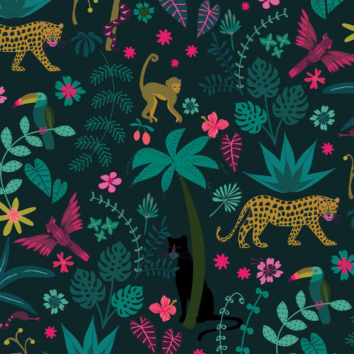 Jungle Party Cotton from Night Jungle by Elena Essex - The Village Haberdashery