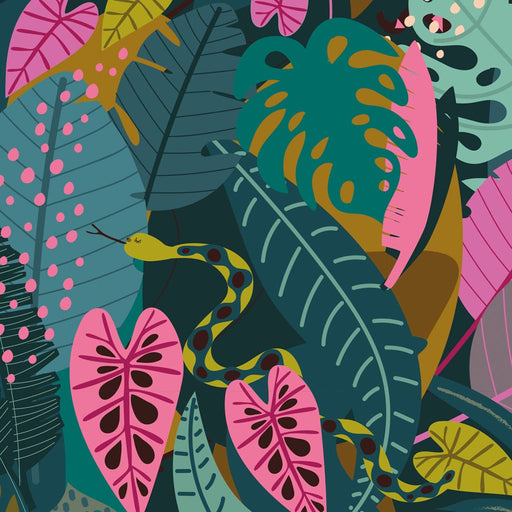 Tropical Foliage Cotton from Night Jungle by Elena Essex - The Village Haberdashery
