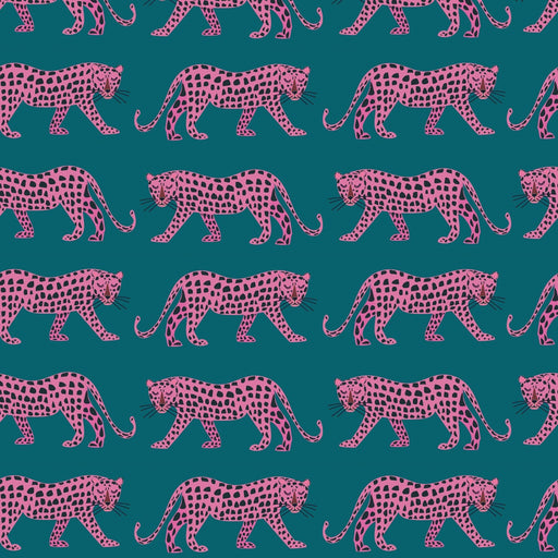 Pink Leopard Cotton from Night Jungle by Elena Essex - The Village Haberdashery
