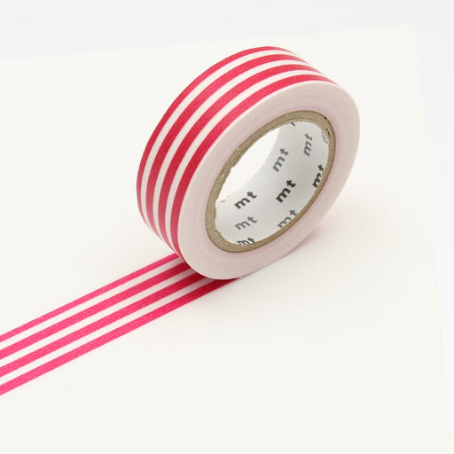 MT Washi Tape - Framboise Stripe - The Village Haberdashery