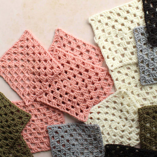 Retro Granny Square Kit in Olive, Grey, Rose & Anthracite by Stitching Me Softly - The Village Haberdashery