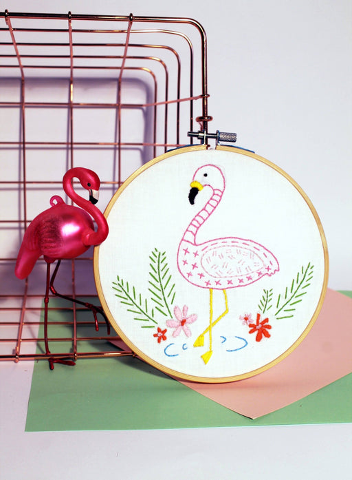Oz & Belle Embroidery Kit - Mummy Flamingo - The Village Haberdashery