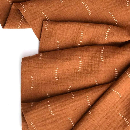 Cognac & Gold Foil Organic Cotton Double Gauze - The Village Haberdashery