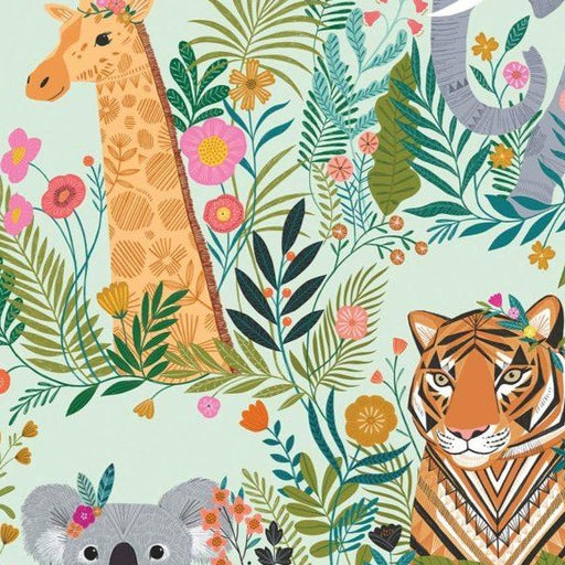Mint Jungle Friends Cotton from Our Planet by Bethan Janine - The Village Haberdashery