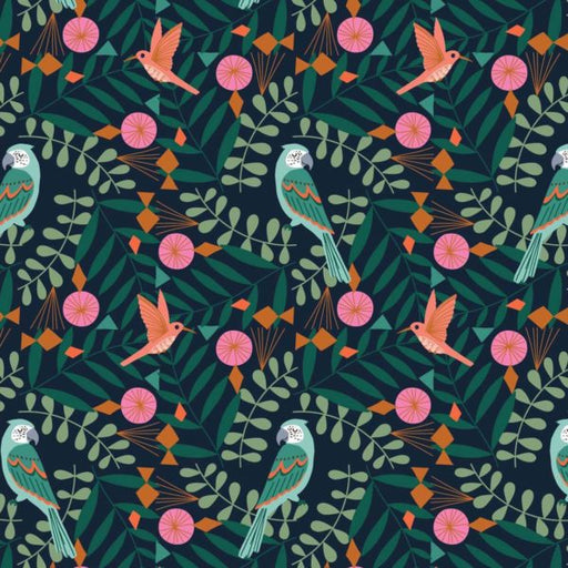 Jungle Birds Pattern Cotton from Our Planet by Bethan Janine - The Village Haberdashery