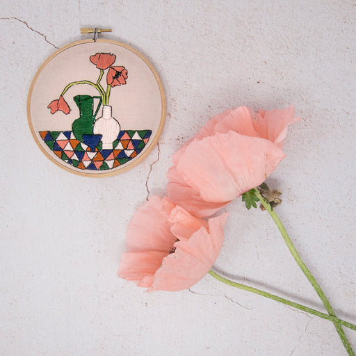 Geometric Poppies Embroidery Kit by Stitch Happy - The Village Haberdashery