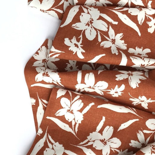 Rust Floral Linen Viscose - The Village Haberdashery