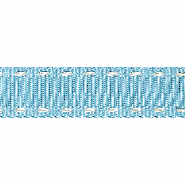 Stitched Grosgrain Ribbon - Sky/Ivory - 15mm - The Village Haberdashery