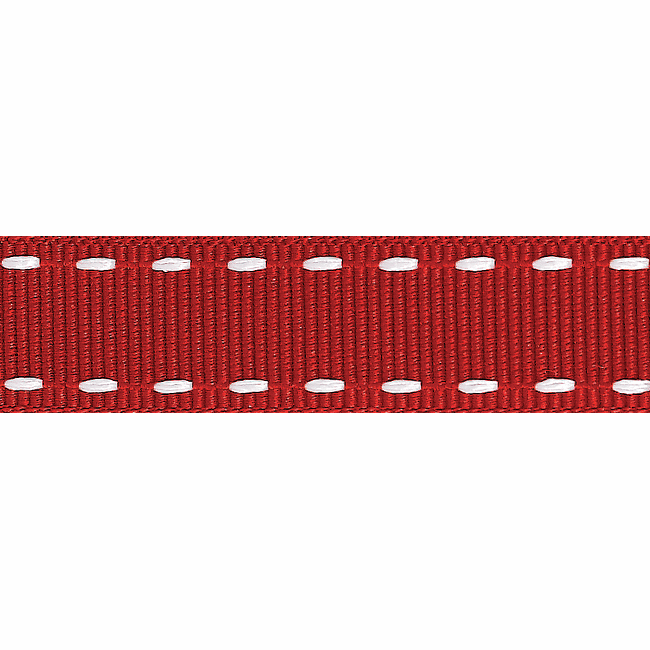 Stitched Grosgrain Ribbon - Red/White - 15mm - The Village Haberdashery