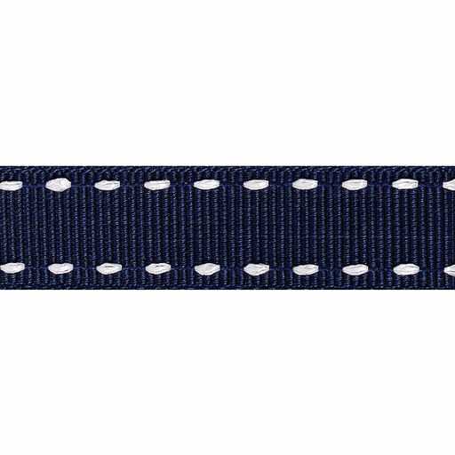 Stitched Grosgrain Ribbon - Navy/Ivory - 15mm - The Village Haberdashery