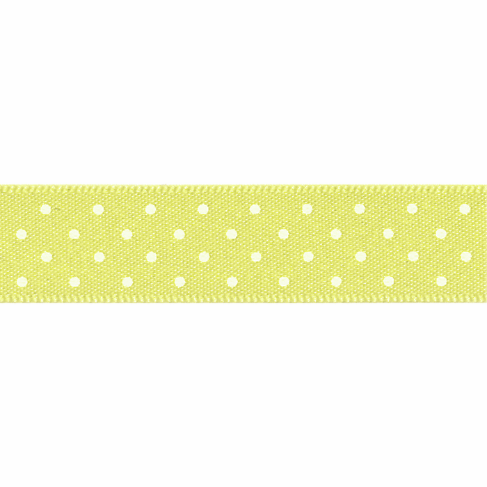 Satin Micro Dot Ribbon - Lemon - 10mm - The Village Haberdashery