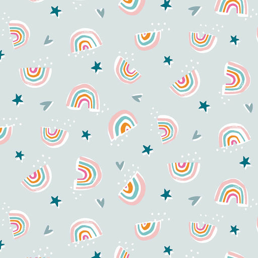 Grey Rainbows & Stars Cotton from Rainbow Friends by Stephanie Thannhauser